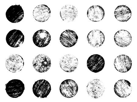 Grunge post Stamps Collection, circles. Banners, logos, Icons, labels and badges set . Vector distressed texture shapes