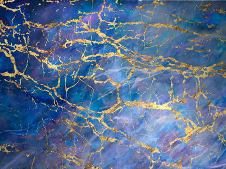 Blue marble and gold abstract texture. Vettoriali