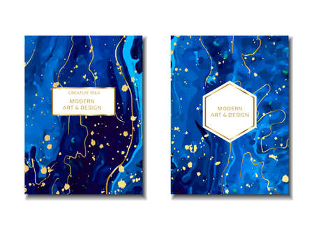 Magic blue cards with sparkling glitter and gold lines. Vettoriali