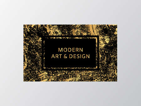 Luxury business card with marble texture and gold splash background vector template.