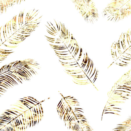 Golden palm leaf seamless pattern on white background. Vector Vettoriali