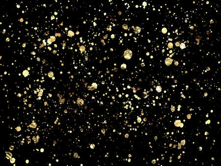Golden blots Grunge urban background. Texture Vector. Dust overlay distress grain. Gold paint splatter , dirty, poster for your design. Vettoriali