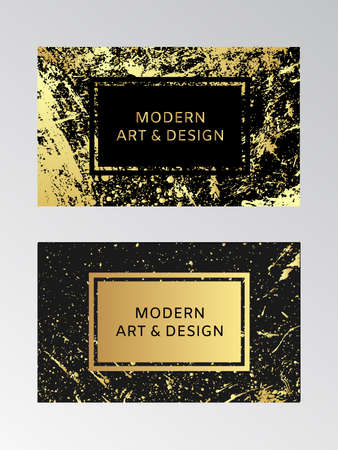 Luxury business card with marble texture and gold splash background vector template. Black and gold design template.