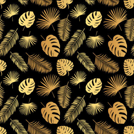 Summer tropical palm tree leaves seamless pattern. Vector grunge design for cards, web, backgrounds Vettoriali