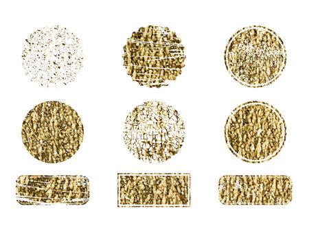 Set of gold rubber stamp. Luxury golden vintage border. Vector 矢量图像