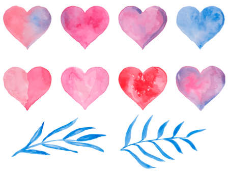 Watercolor hearts for St. Valentine s Day. Vector