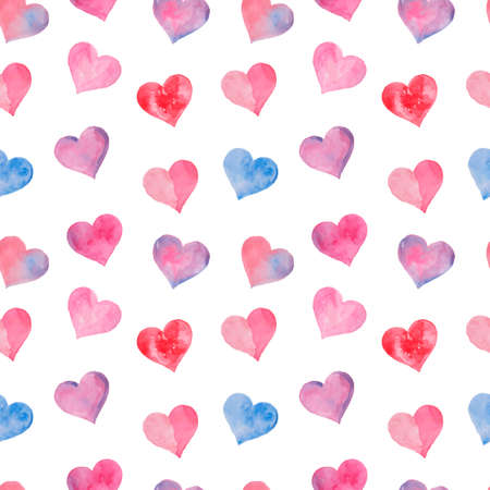 Pink watercolor painted hearts seamless pattern. Vector illustration.