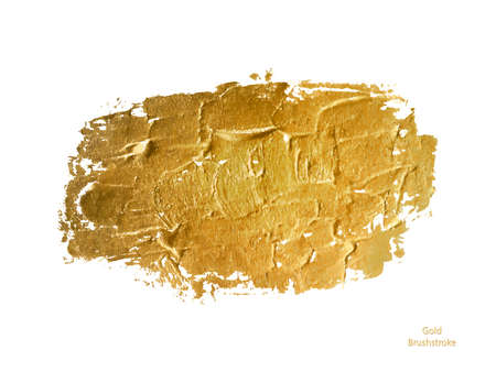 Vector gold paint smear stroke stain. Abstract gold glittering textured art Иллюстрация