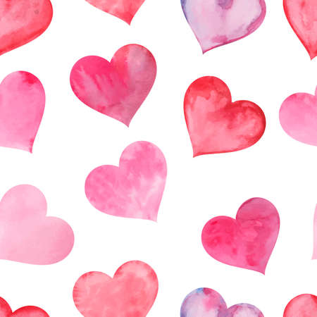 Pink watercolor painted hearts seamless pattern. Color background for valentines day. Vector