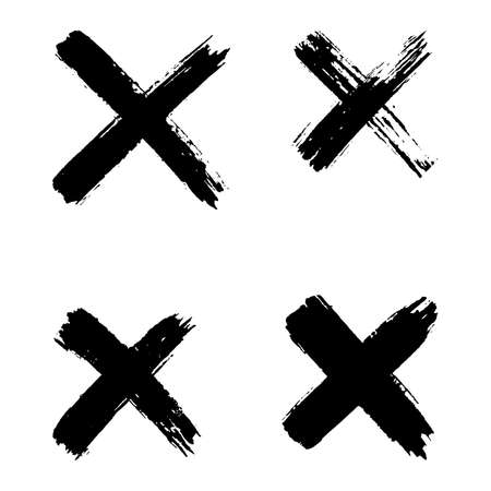 Hand drawn set of cross brush strokes. X black stripes collection. Cross sign graphic symbol. Vector