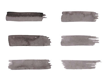 Painted grunge stripes set. Black labels, background, paint texture. Brush strokes vector.