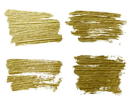 Gold paint smear stroke stain set. Abstract gold glitter texture art illustration.