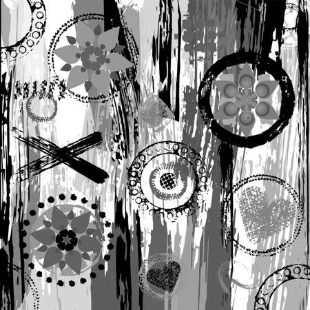 Black and white geometric pattern background, retro, vintage style, with circles, stripes, flowers, strokes and splashes. Vector