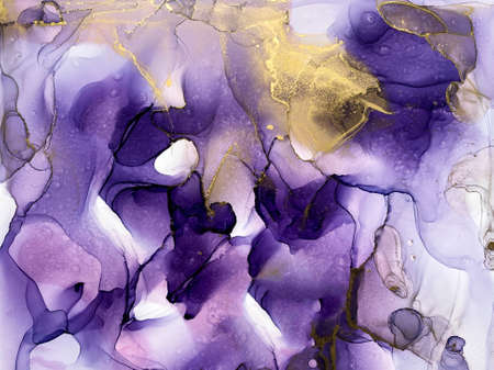 Ink, paint, abstract. Violet and gold abstract painting background. Alcohol ink modern abstract painting, modern contemporary art. 版權商用圖片