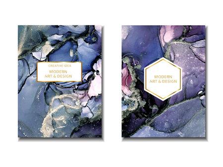 Trendy wedding invitation, design frame. Marbling texture. Watercolor alcohol ink splash, liquid flow texture paint, luxury abstract digital paper fine art pattern. Vector Vectores