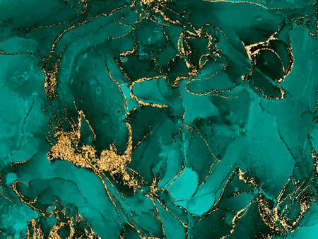 Black and green watercolor background with gold glitter. Watercolor alcohol ink splash, liquid flow texture paint, malachite gemstone, wallpaper . Vector illustration