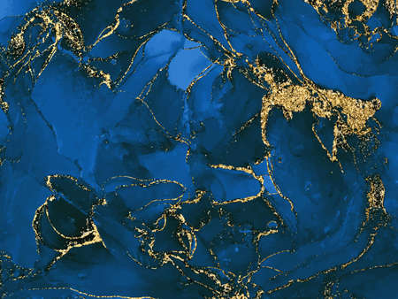 Black and blue watercolor background with gold glitter. Watercolor alcohol ink splash, liquid flow texture paint, wallpaper . Vector