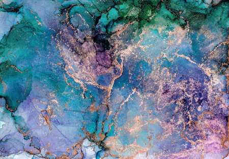 Abstract marble texture background. Design wrapping paper, wallpaper. Modern fluid art. Alcohol Ink pattern with golden dust . Abstract fluid art painting in alcohol ink technique