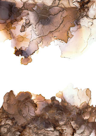 Design wrapping paper, wallpaper. Mixing acrylic paints. Alcohol ink colors translucent. Abstract brown. black and gold marble texture background. Foto de archivo