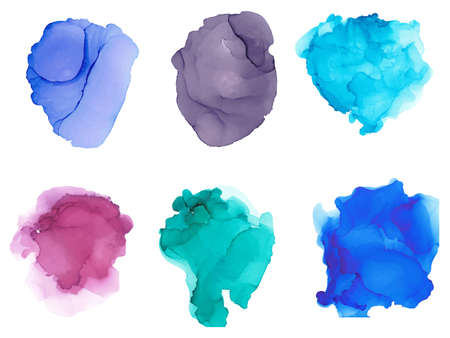 Watercolor splashes isolated on white background. Artistic hand drawn background. Vector illustration.