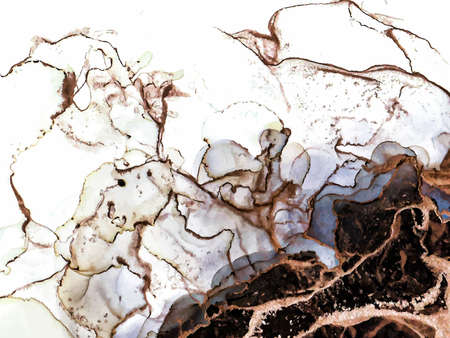Abstract black, brown and gold alcohol ink paint, marble liquid art, watercolor wallpaper poster. Brown watercolor fluid painting vector design card.