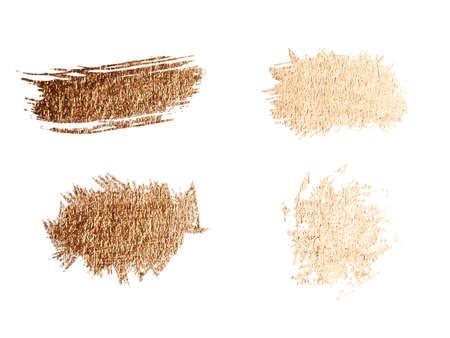 Vector golden brush stroke, brush, line or texture. Hand drawn brush stroke design element, box, frame or background for text. Foto de archivo