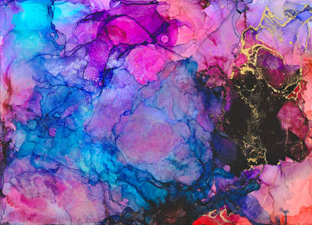 Ink, paint, abstract. Abstract colourful painted galaxy. Alcohol ink modern abstract painting, modern contemporary art.