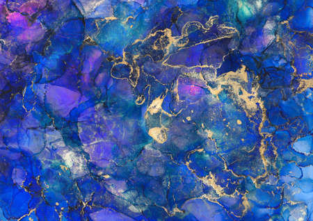 Colourful acrylic painted galaxy. Abstract marble texture background. Fluid art painting. Watercolor alcohol ink splash, liquid flow texture paint, digital paper fine art pattern Foto de archivo
