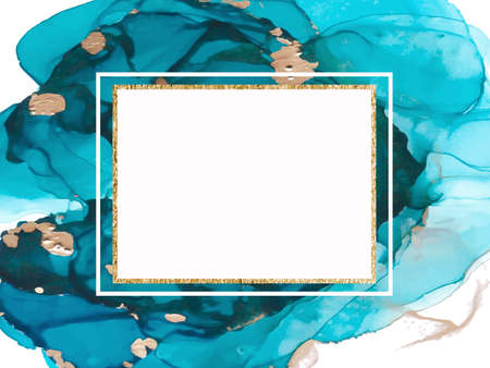 Marble card presentation, flyer, invitation card template design. Abstract blue and gold background. Vector Vectores