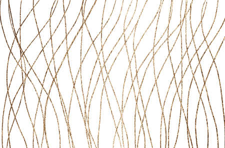 Golden lines, wave on white background. Abstract pattern. Foto de archivo