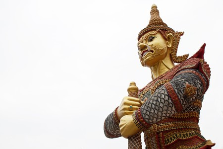 Huge Giant statue guarding Thai temple, Bangkok photo