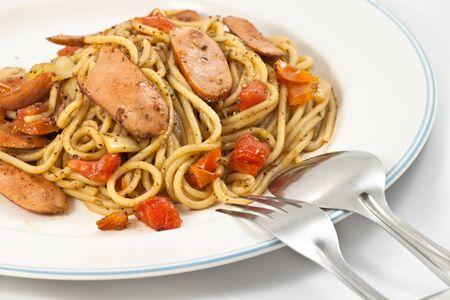Black pepper spaghetti with sausage in plate Stock Photo - 8583221