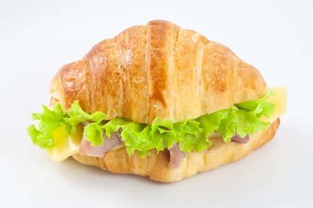 Ham and cheese croissant sandwich Stock Photo