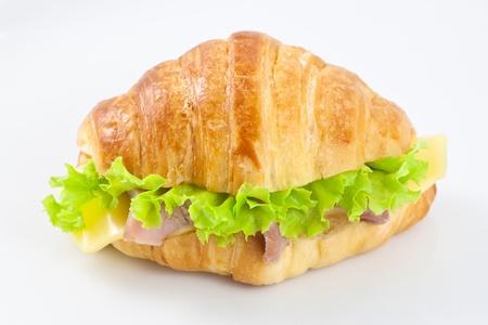 sub sandwich: Ham and cheese croissant sandwich Stock Photo