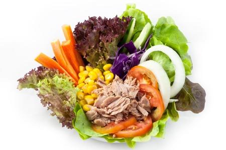 Tuna salad with corn and fresh vegetables photo