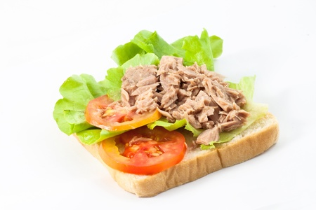 Tuna on a bread prepare for sandwich Banco de Imagens