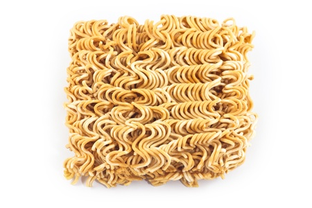Dry instant noodle on white background photo