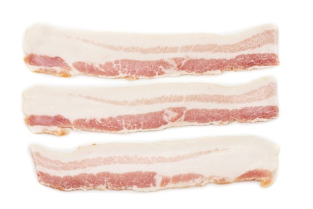 Raw Bacon on white isolated