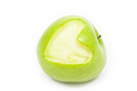 Green apple with heart represent, love and healthy photo