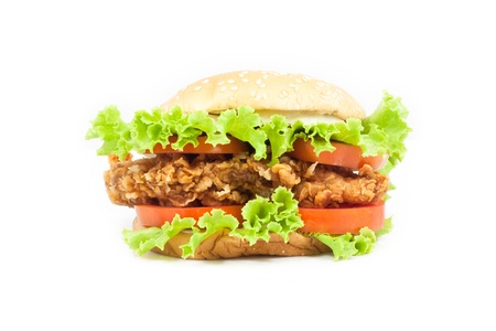 Fried Chicken Burger on white background Stock Photo - 10483314