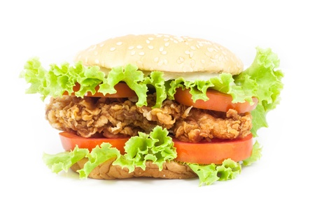 Fried Chicken Burger on white background Stock Photo
