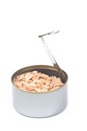 Tuna in opened can on white isolated Stock Photo - 11097474