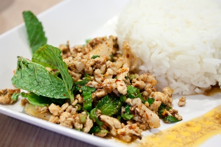 Larb Moo  Thai food made from pork with herb serve in plate with rice photo