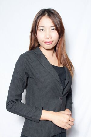 Asian business young woman on white background photo