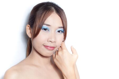 Beautiful young asian woman on white background with make up face Stock Photo - 14177765