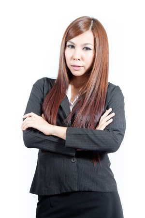 Confident asian business woman smiling photo