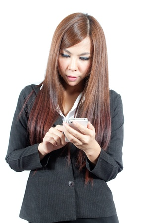 Young business woman working with mobile photo