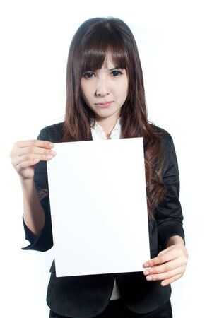 Young business woman holding a black white paper on white background photo