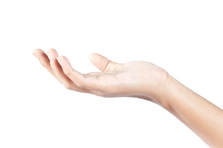 Human hand on white background photo