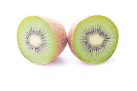 half cut: Fresh half cut kiwi on white background Stock Photo